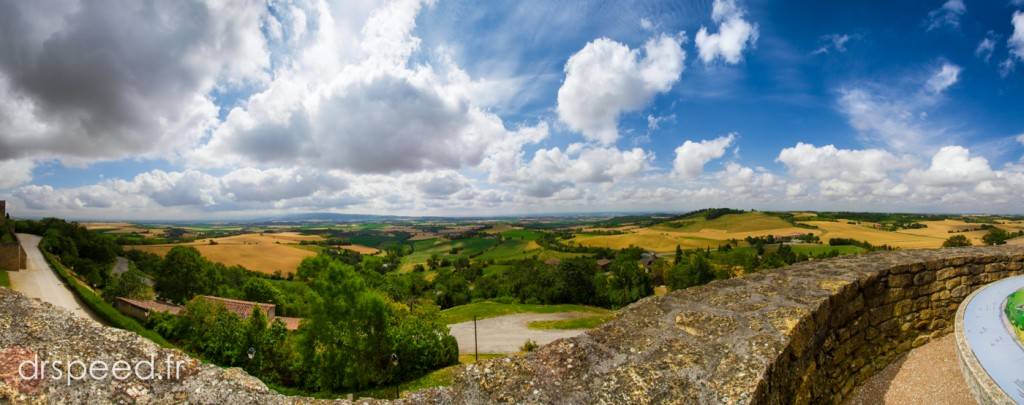 Panoramic of the yellow & green Lauragais Valley